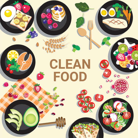 Delicious clean food menu for healthy food concept