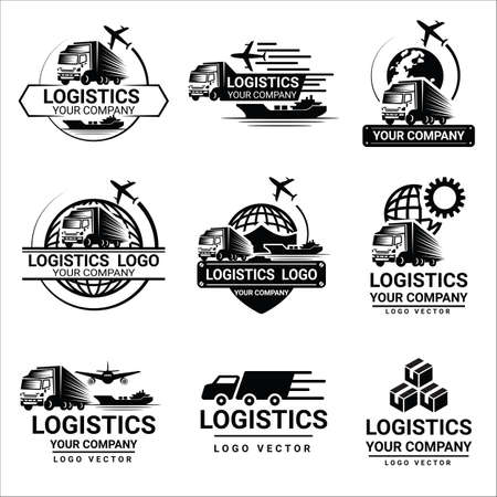 Set of logistics and  transport logos design vector