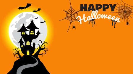Halloween pumpkins and haunted castle on full Moon night orange  background Иллюстрация