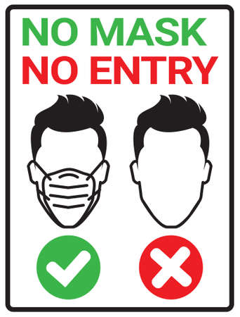 Please wear a mask sign poster for Covid19 Corona  Virus protection concept Иллюстрация
