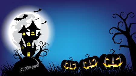 Halloween pumpkins and haunted castle on full Moon night blue background