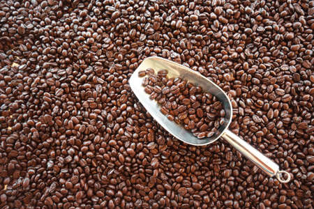 Scoop on roasted Arabica coffee beans for background Фото со стока
