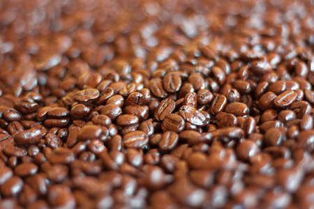 Defocus roasted Arabica coffee beans  for background