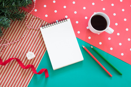 ides: creative workplace.blank notebook for christmas concept