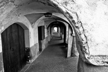 portico: Portico in Chiomonte Stock Photo