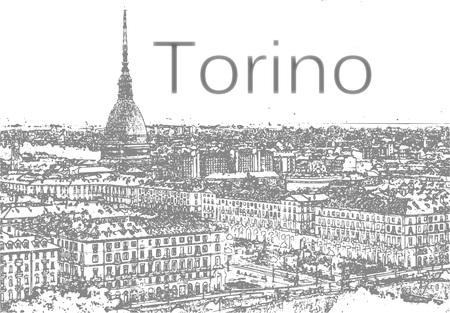 トリノのイタリアのスカイラインのイラスト。