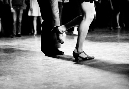 Dancing at the swing music party vintage and retro style