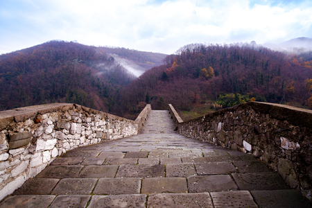 Bridge of Mary Magdalene near Borgo a Mozzano (Lucca), Italy