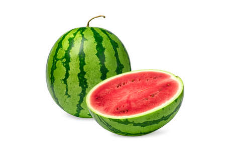 watermelon isolated on white background. Fresh watermelon fruit (Citrullus Vulgaris) perfectly for diet.