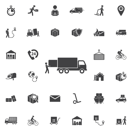 Warehouse icons: loading and unloading of goods. Set of Post delivery icons