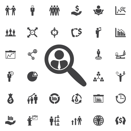 business woman: Search candidate Icon. Business icons set