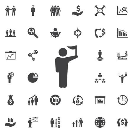 accomplish: Man with flag icon. Business icons set