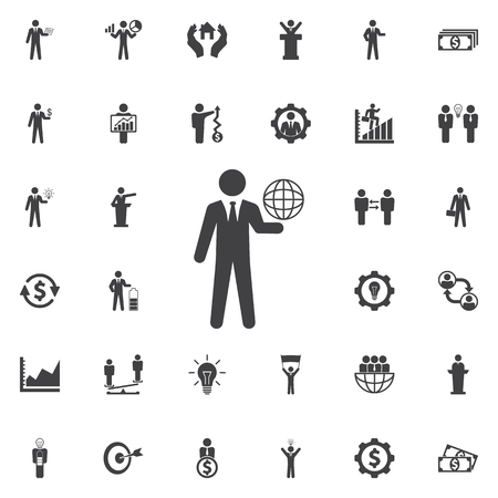 Globe on the hand icon. Business icons set