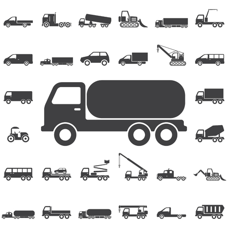 Vrachtwagen chemisch pictogram. Transport pictogrammen universele set voor web en mobiel