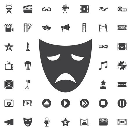 stage costume: Drama acting masks flat icon on the white background Illustration