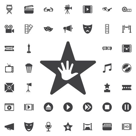 walk of fame: Walk of Fame star icon on the white background. Set of cinema icons Illustration