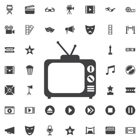 flat screen tv: Tv Icon in trendy flat style isolated on white background. Set of cinema icons