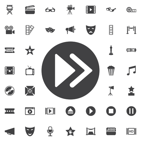 eject: Rewinding icon flat on the white background. Set of movie icons