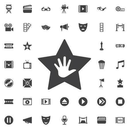 Walk of Fame star icon on the ?hite background. Set of cinema icons Illustration