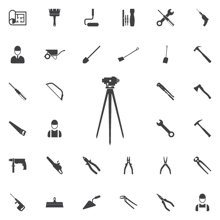 Theodolite on tripod line icon. Construction icons universal set for web and mobile