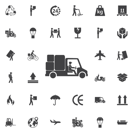 sign post: Express delivery icon. Delivery car. Set of Post delivery icons