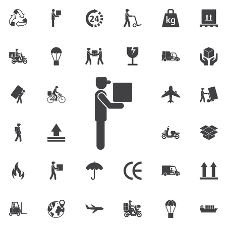 Delivery man icon. Set of Post delivery icons 일러스트