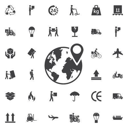 pin on globe icon. Set of Post delivery icons Illustration