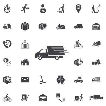 Fast shipping delivery truck flat icon for apps and websites. Set of Post delivery icons Illustration