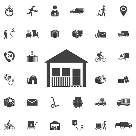 house construction: warehouse icon isolated. Set of Post delivery icons. Modern flat pictogram, business, marketing, internet concept. Trendy Simple vector symbol for web site design or button to mobile app. Logo illustration Illustration