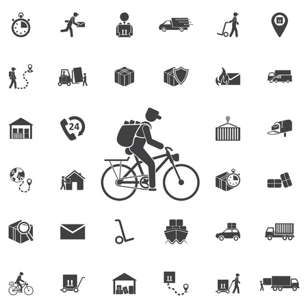 Newspaper dlivery on bicycle icon. Set of Post delivery icons