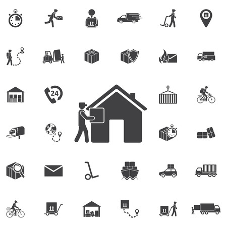 Delivery Man at Door with a Box, Flat Vector Illustration. Set of Post delivery icons
