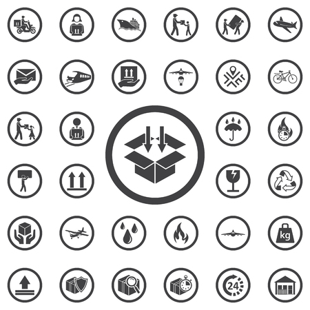 sign post: Box with down arrow icon vector, filled flat sign, solid pictogram isolated. Set of Post delivery icons. Packaging, loading symbol, logo illustration
