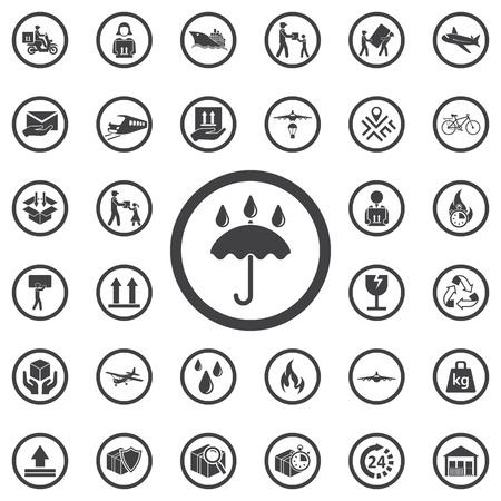 icon: Umbrella icon packing symbol. Set of Post delivery icons