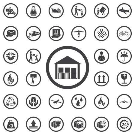house construction: warehouse icon isolated. Set of Post delivery icons. Modern flat, business, marketing, internet concept. Trendy Simple vector symbol for web site design or button to mobile app. Logo illustration Illustration