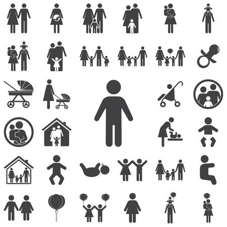 Junge Symbol auf weißem Hintergrund. Familie von Icons Vektorgrafik