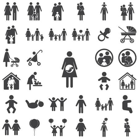 Pregnant Icon on the white background. Family set of icons