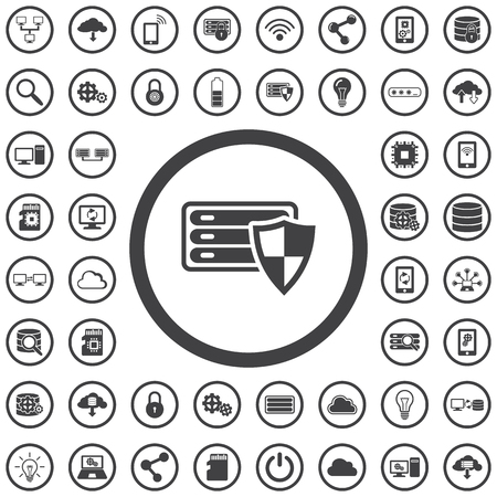 Database shield Icon. Set con technology icons