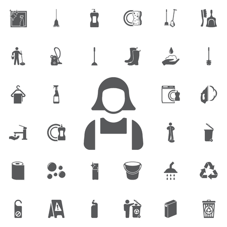 Maid icon illustration isolated vector sign symbol on the white background. Set of cleaning icons