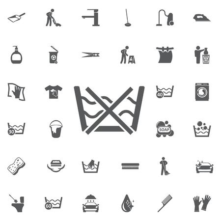 Waschen Sie nicht Pflege Wäschesymbol Symbol auf weißem Hintergrund. Set Reinigungssymbole