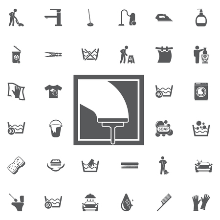 Glass scraper icon. Household industrial cleaner office on the white background. Set of cleaning icons Illustration