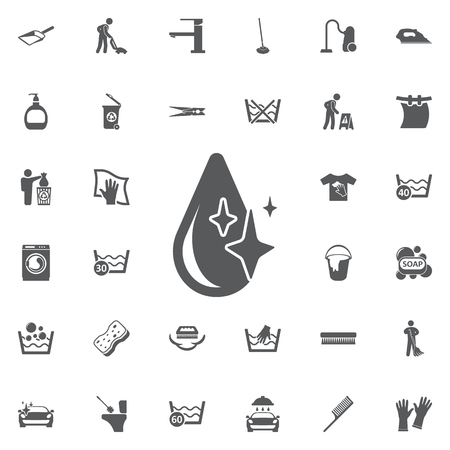 Drop icon vector on a white background. Set of cleaning icons