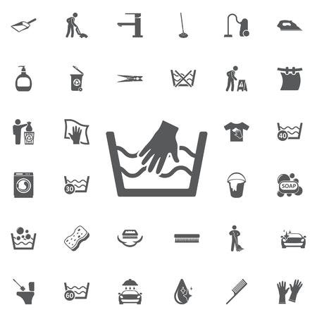 Handwas enige pictogram op een witte achtergrond. Wassen teken. Wasserij symbolen. Set van schoonmaak pictogrammen Stock Illustratie