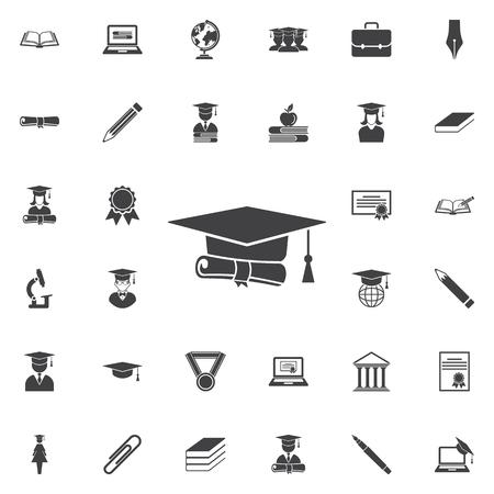 Abschlusskappe und Diplom-Symbol . Icons Set von Icons Vektorgrafik