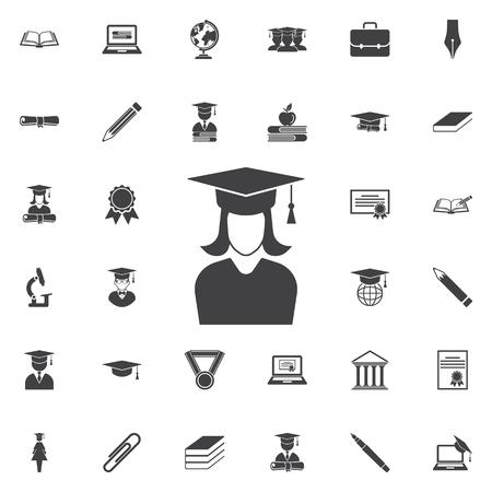 卒業キャップと女の子アイコン。アイコンの教育セット  イラスト・ベクター素材