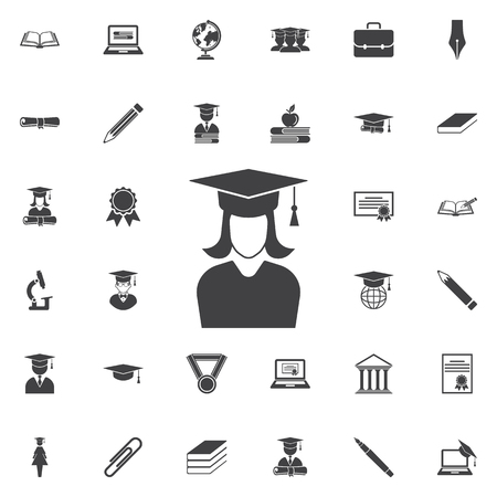 casquillo de graduación y icono de la muchacha . educación conjunto de iconos