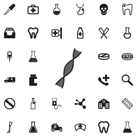 Vector DNA icon on the white background. Medical set of icons.