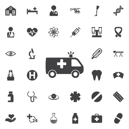 Medical car icon collection related to service, health care, pharmacy business, drugstore, science. Vector style: flat gray symbols, rounded angles, white background.