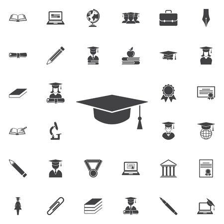 Graduation cap icon. Education set of icons