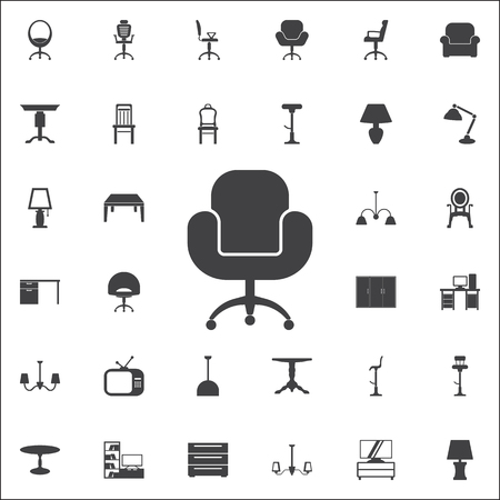 Armchair icon. Set of furniture icons