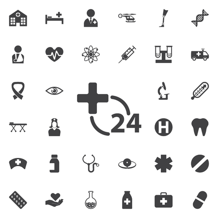 24 hours Medical icon collection related to service, health care, pharmacy business, drugstore, science. Vector style: flat gray symbols, rounded angles, white background.